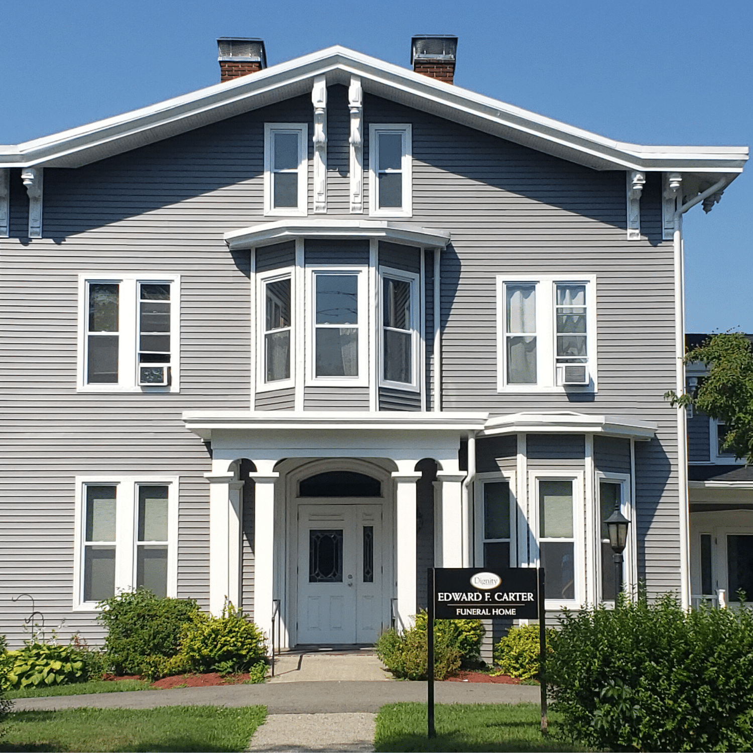 Edward F Carter Funeral home after we installed a new roof and siding replacement