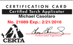 MCAS Roofing & Contracting, Inc. is a certified torch applicator