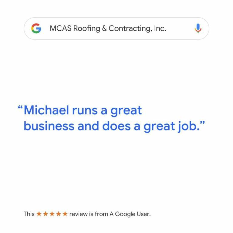 Roofer Reviews MCAS Roofing & Contracting Inc. 4
